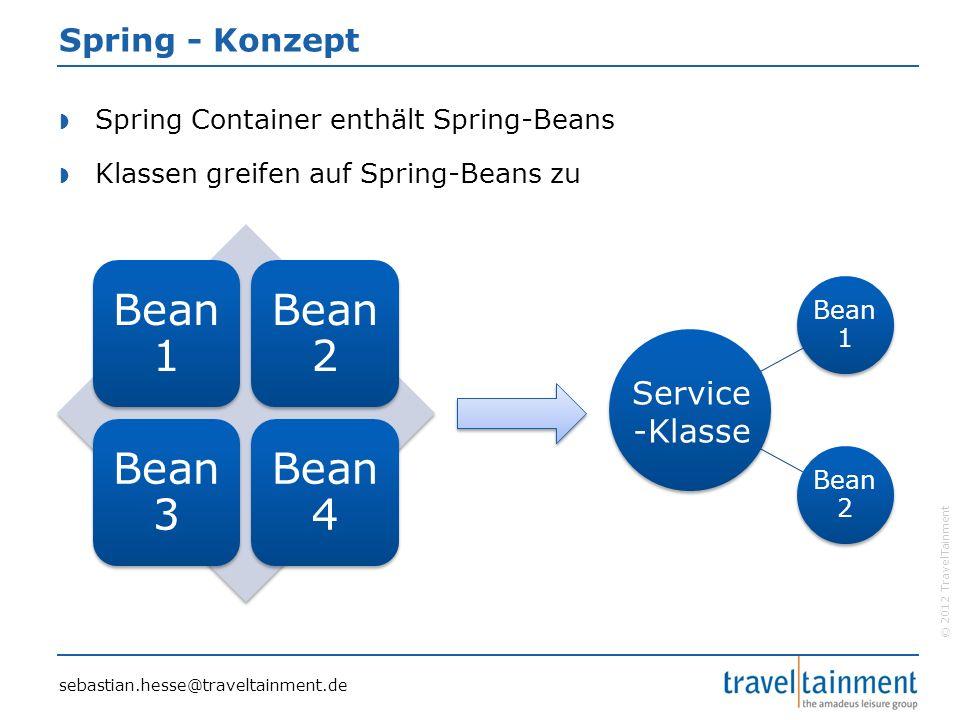 © 2012 TravelTainment Spring - Konzept  Spring Container enthält Spring-Beans  Klassen greifen auf Spring-Beans zu Bea n 1 Bea n 2 Bea n 3 Bea n 4 Bean 1 Bean 2 Service -Klasse sebastian.hesse@traveltainment.de