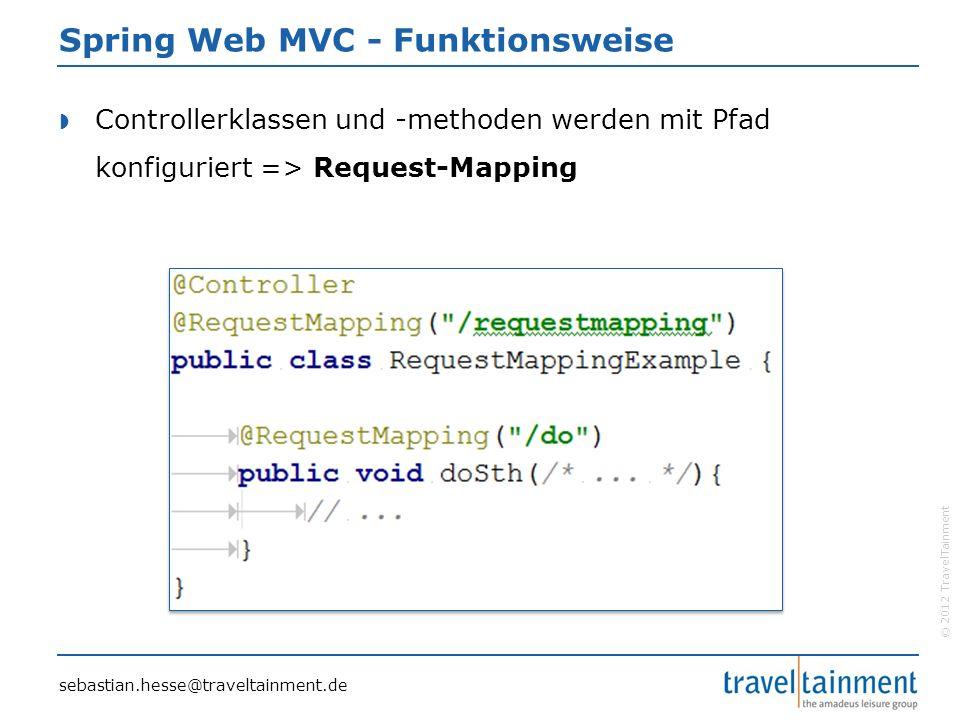 © 2012 TravelTainment Spring Web MVC - Funktionsweise  Controllerklassen und -methoden werden mit Pfad konfiguriert => Request-Mapping sebastian.hesse@traveltainment.de