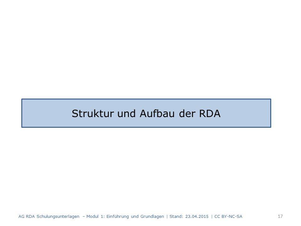 17 AG RDA Schulungsunterlagen – Modul 1: Einführung und Grundlagen | Stand: 23.04.2015 | CC BY-NC-SA Struktur und Aufbau der RDA