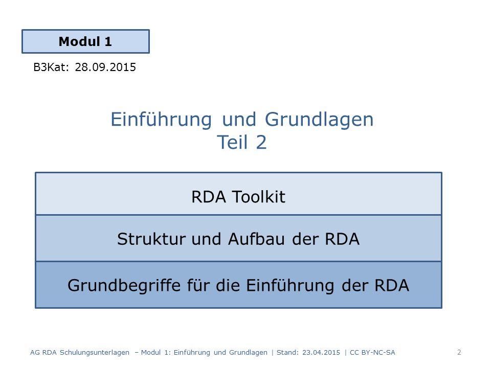 Einführung und Grundlagen Teil 2 Modul 1 2 AG RDA Schulungsunterlagen – Modul 1: Einführung und Grundlagen | Stand: 23.04.2015 | CC BY-NC-SA RDA Toolkit Struktur und Aufbau der RDA Grundbegriffe für die Einführung der RDA B3Kat: 28.09.2015