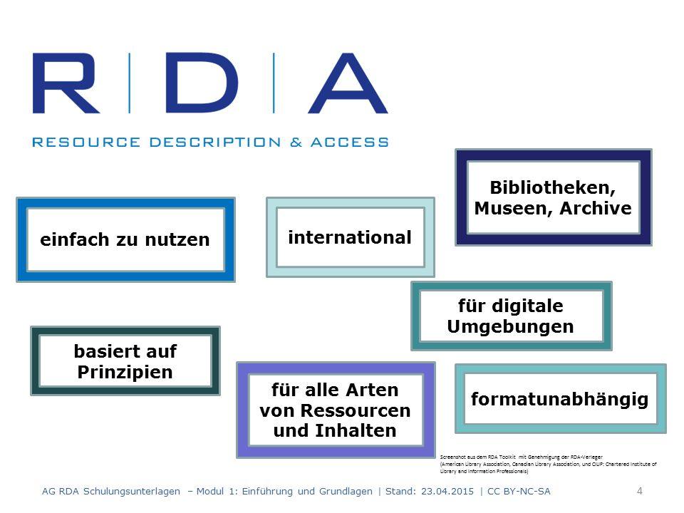 RDA Toolkit AG RDA Schulungsunterlagen – Modul 1: Einführung und Grundlagen | Stand: 23.04.2015 | CC BY-NC-SA 5 http://access.rdatoolkit.org/ http://www.rdatoolkit.org/ Screenshot aus dem RDA Toolkit mit Genehmigung der RDA-Verleger (American Library Association, Canadian Library Association, und CILIP: Chartered Institute of Library and Information Professionals) >>
