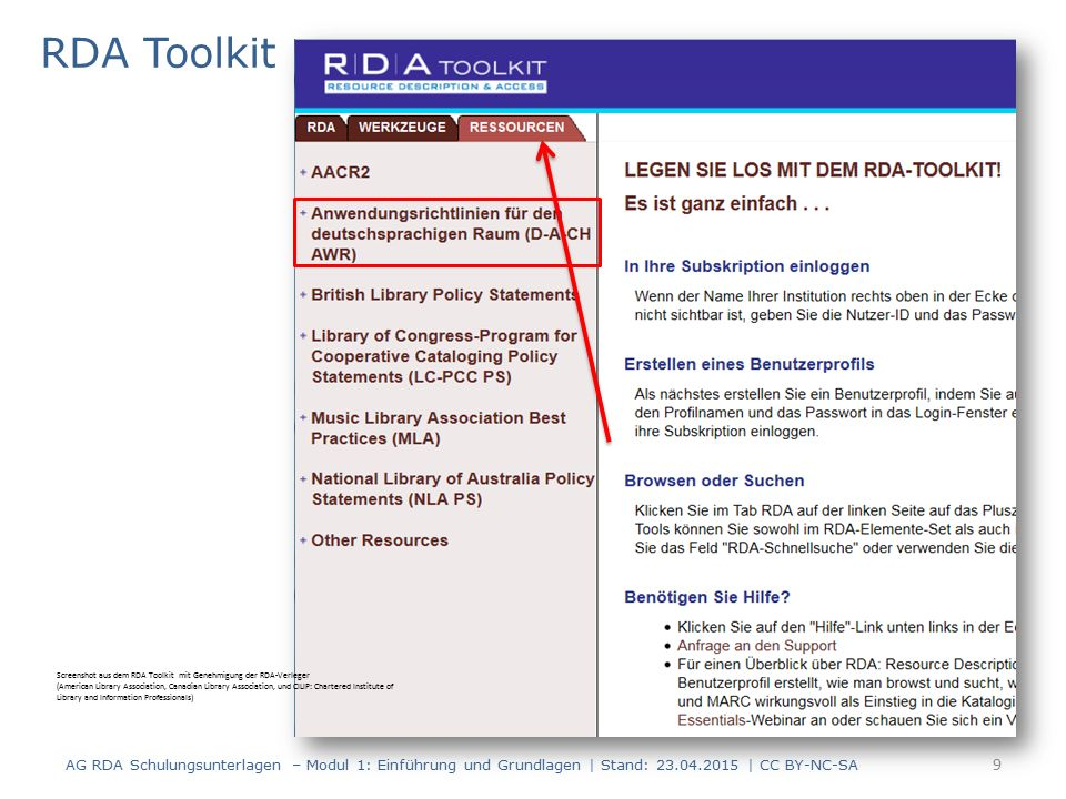 RDA Toolkit 9 AG RDA Schulungsunterlagen – Modul 1: Einführung und Grundlagen | Stand: 23.04.2015 | CC BY-NC-SA Screenshot aus dem RDA Toolkit mit Genehmigung der RDA-Verleger (American Library Association, Canadian Library Association, und CILIP: Chartered Institute of Library and Information Professionals)