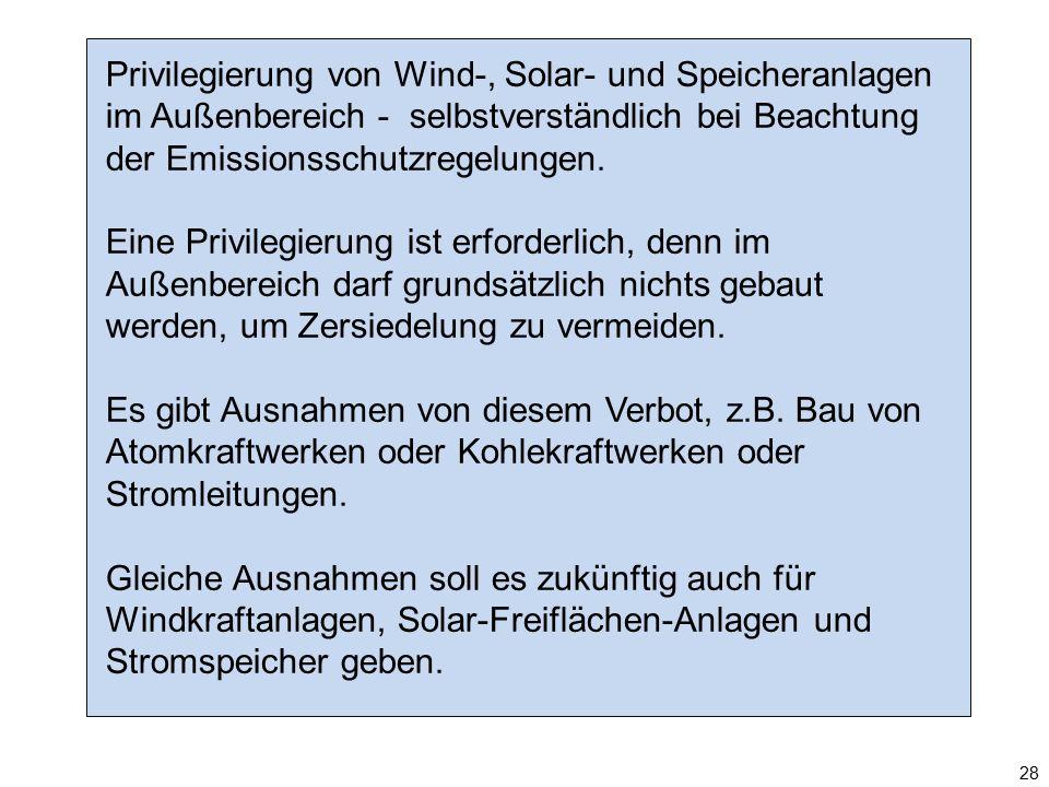 Privilegierung von Wind-, Solar- und Speicheranlagen im Außenbereich - selbstverständlich bei Beachtung der Emissionsschutzregelungen. Eine Privilegie
