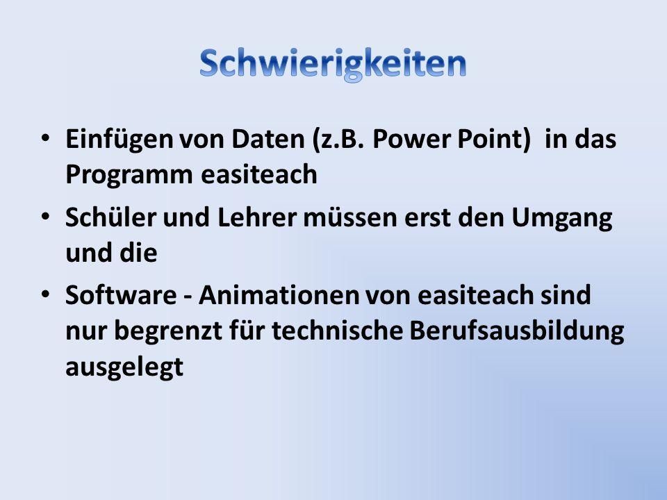 Einfügen von Daten (z.B. Power Point) in das Programm easiteach Schüler und Lehrer müssen erst den Umgang und die Software - Animationen von easiteach