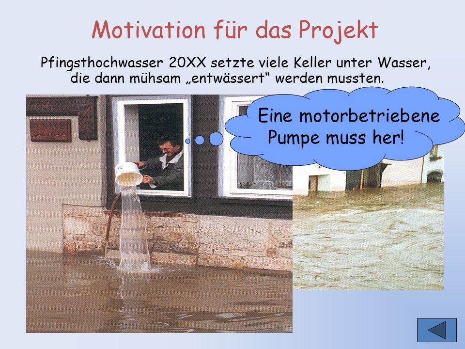 """Motivation für das Projekt Pfingsthochwasser 20XX setzte viele Keller unter Wasser, die dann mühsam """"entwässert"""" werden mussten. Eine motorbetriebene"""