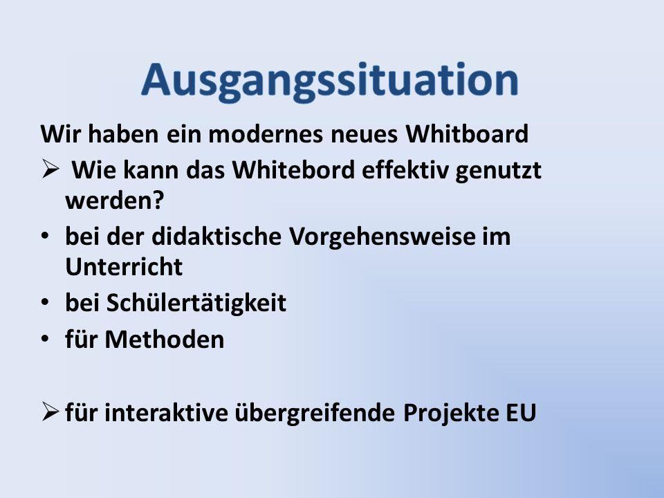 Wir haben ein modernes neues Whitboard  Wie kann das Whitebord effektiv genutzt werden? bei der didaktische Vorgehensweise im Unterricht bei Schülert