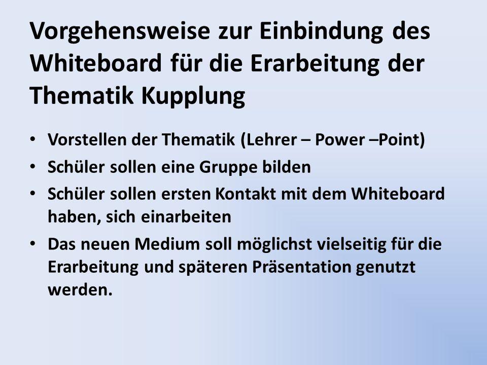 Vorstellen der Thematik (Lehrer – Power –Point) Schüler sollen eine Gruppe bilden Schüler sollen ersten Kontakt mit dem Whiteboard haben, sich einarbe