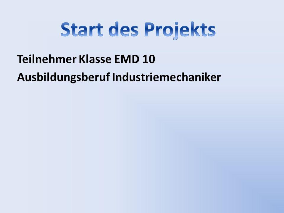 Teilnehmer Klasse EMD 10 Ausbildungsberuf Industriemechaniker