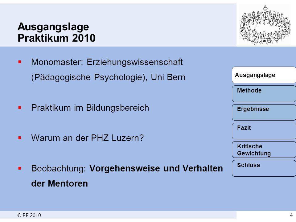 © FF 20104 Ausgangslage Praktikum 2010  Monomaster: Erziehungswissenschaft (Pädagogische Psychologie), Uni Bern  Praktikum im Bildungsbereich  Warum an der PHZ Luzern.