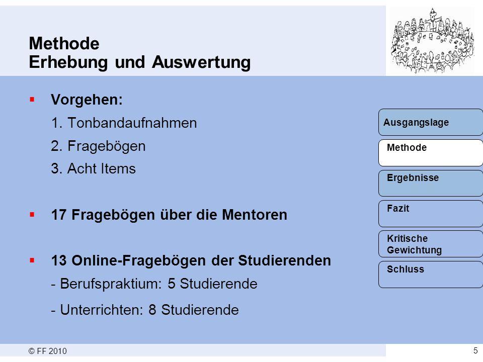 © FF 20105 Methode Erhebung und Auswertung  Vorgehen: 1.