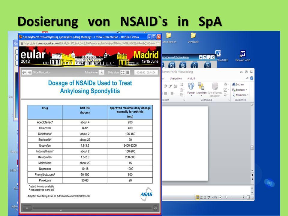Dosierung von NSAID`s in SpA