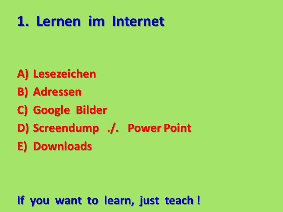 1. Lernen im Internet A)Lesezeichen B)Adressen C)Google Bilder D)Screendump./.