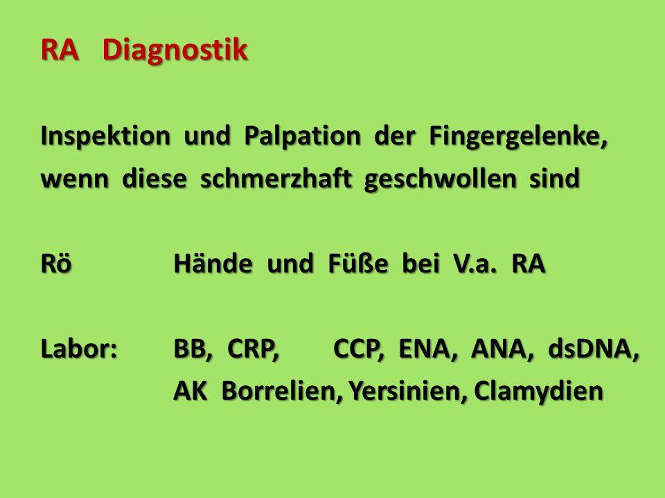 RA Diagnostik Inspektion und Palpation der Fingergelenke, wenn diese schmerzhaft geschwollen sind Rö Hände und Füße bei V.a. RA Labor: BB, CRP, CCP, E