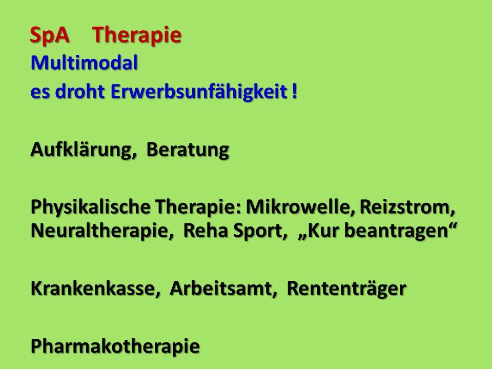 SpA Therapie Multimodal es droht Erwerbsunfähigkeit ! Aufklärung, Beratung Physikalische Therapie: Mikrowelle, Reizstrom, Neuraltherapie, Reha Sport,