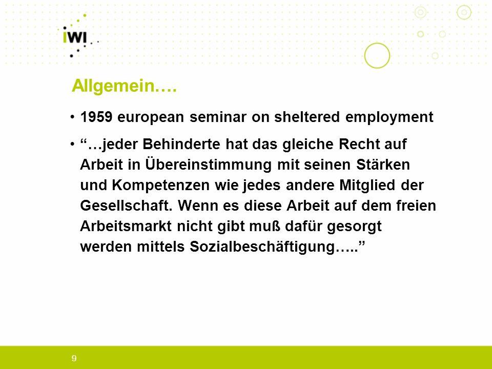 9 1959 european seminar on sheltered employment …jeder Behinderte hat das gleiche Recht auf Arbeit in Übereinstimmung mit seinen Stärken und Kompetenzen wie jedes andere Mitglied der Gesellschaft.