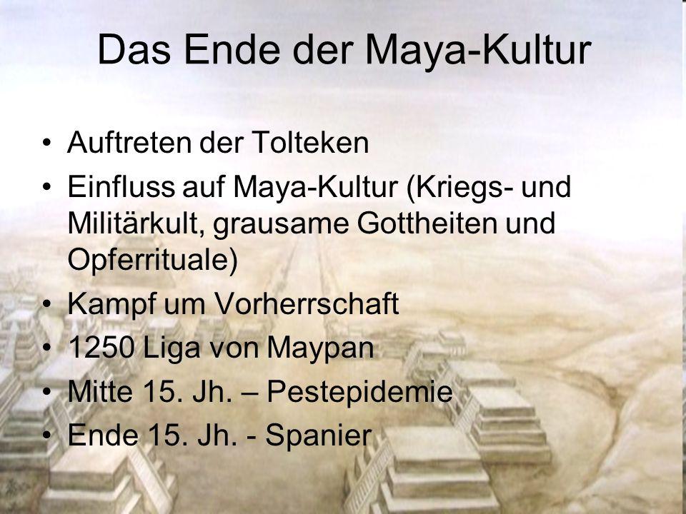 Das Ende der Maya-Kultur Auftreten der Tolteken Einfluss auf Maya-Kultur (Kriegs- und Militärkult, grausame Gottheiten und Opferrituale) Kampf um Vorh