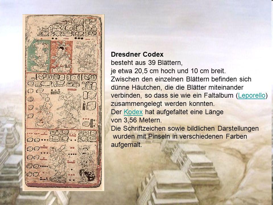 Dresdner Codex besteht aus 39 Blättern, je etwa 20,5 cm hoch und 10 cm breit. Zwischen den einzelnen Blättern befinden sich dünne Häutchen, die die Bl