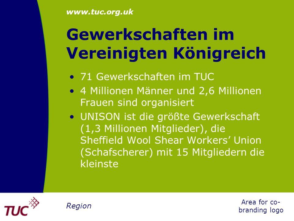 www.tuc.org.uk Area for co- branding logo Region Die Struktur des TUC Jahreskongress Generalrat Exekutivrat Arbeitsgruppen und gemischte Ausschüsse, zB European Monitoring Group und Ausschuss für Frauenangelegenheiten Zentrale + Regionalbüros
