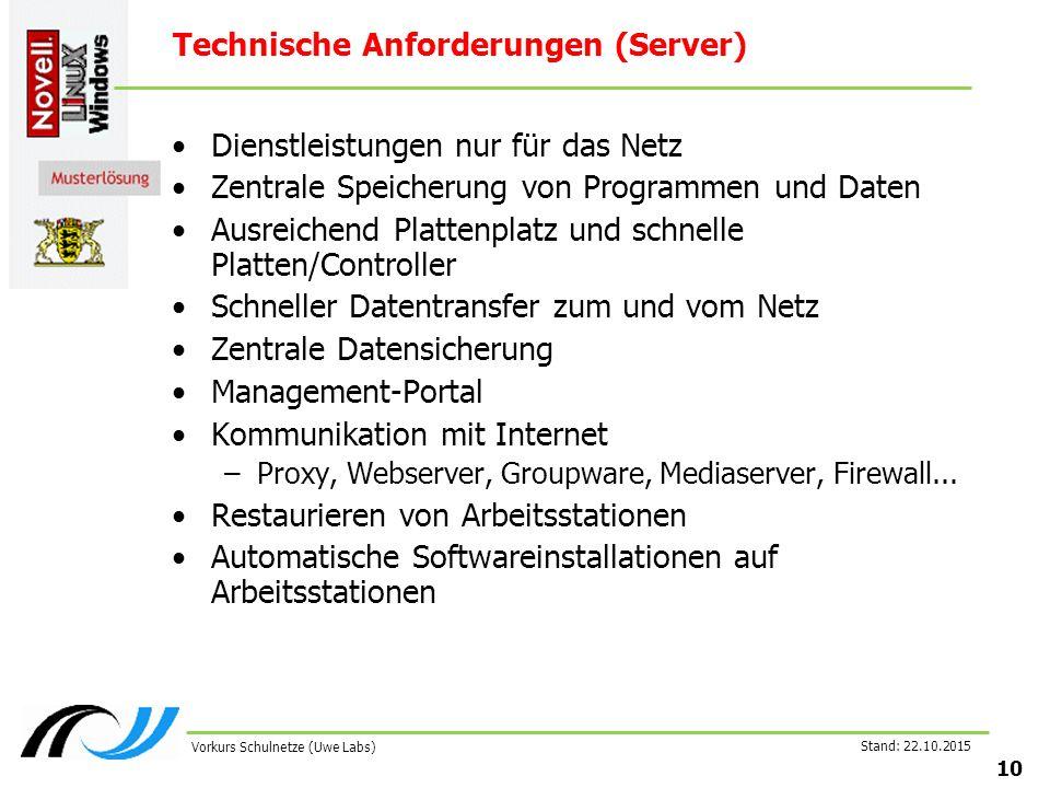 Stand: 22.10.2015 10 Vorkurs Schulnetze (Uwe Labs) Technische Anforderungen (Server) Dienstleistungen nur für das Netz Zentrale Speicherung von Progra