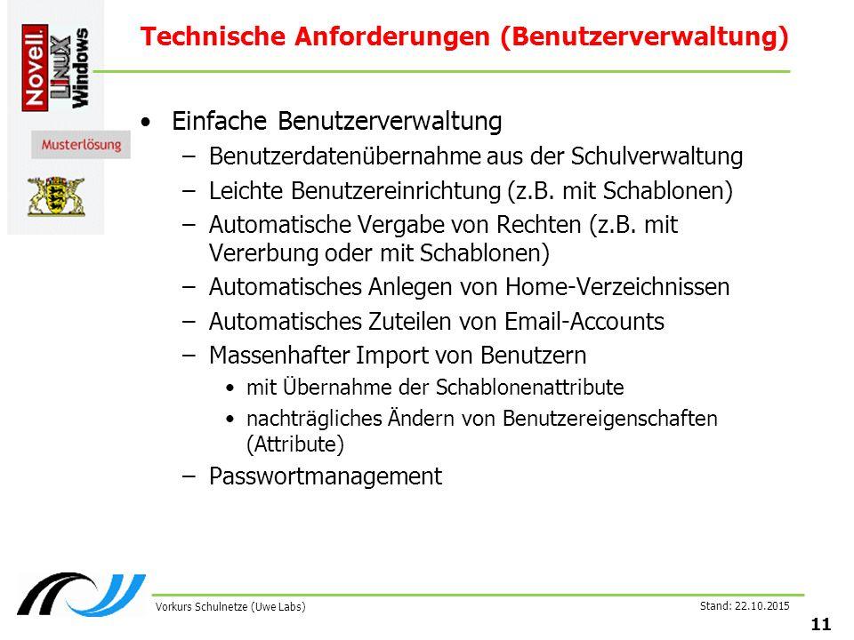 Stand: 22.10.2015 11 Vorkurs Schulnetze (Uwe Labs) Technische Anforderungen (Benutzerverwaltung) Einfache Benutzerverwaltung –Benutzerdatenübernahme a
