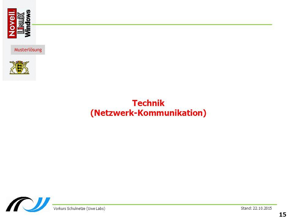 Stand: 22.10.2015 15 Vorkurs Schulnetze (Uwe Labs) Technik (Netzwerk-Kommunikation)