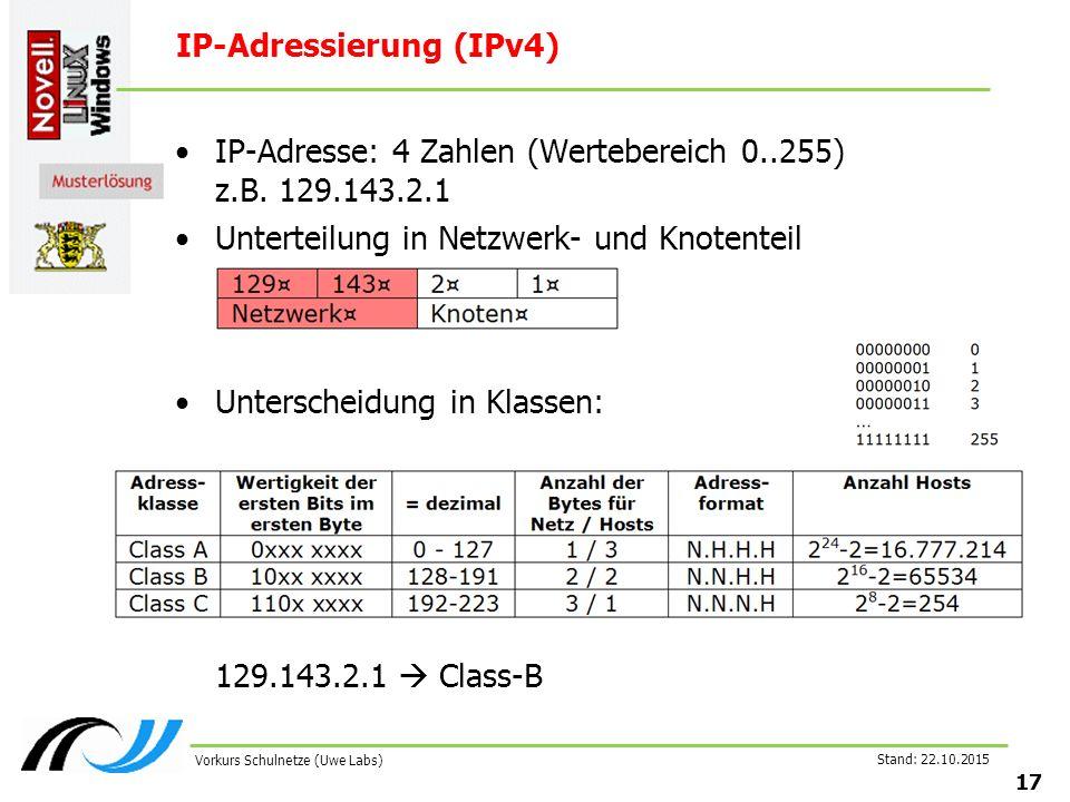 Stand: 22.10.2015 17 Vorkurs Schulnetze (Uwe Labs) IP-Adressierung (IPv4) IP-Adresse: 4 Zahlen (Wertebereich 0..255) z.B. 129.143.2.1 Unterteilung in