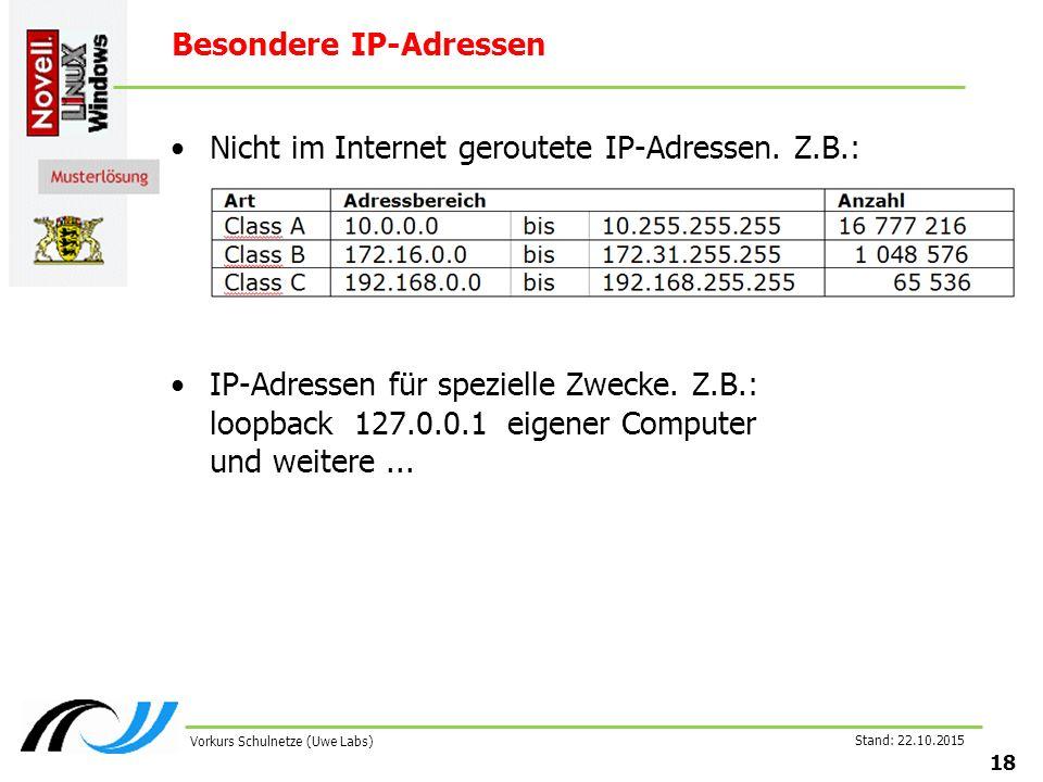 Stand: 22.10.2015 18 Vorkurs Schulnetze (Uwe Labs) Besondere IP-Adressen Nicht im Internet geroutete IP-Adressen. Z.B.: IP-Adressen für spezielle Zwec