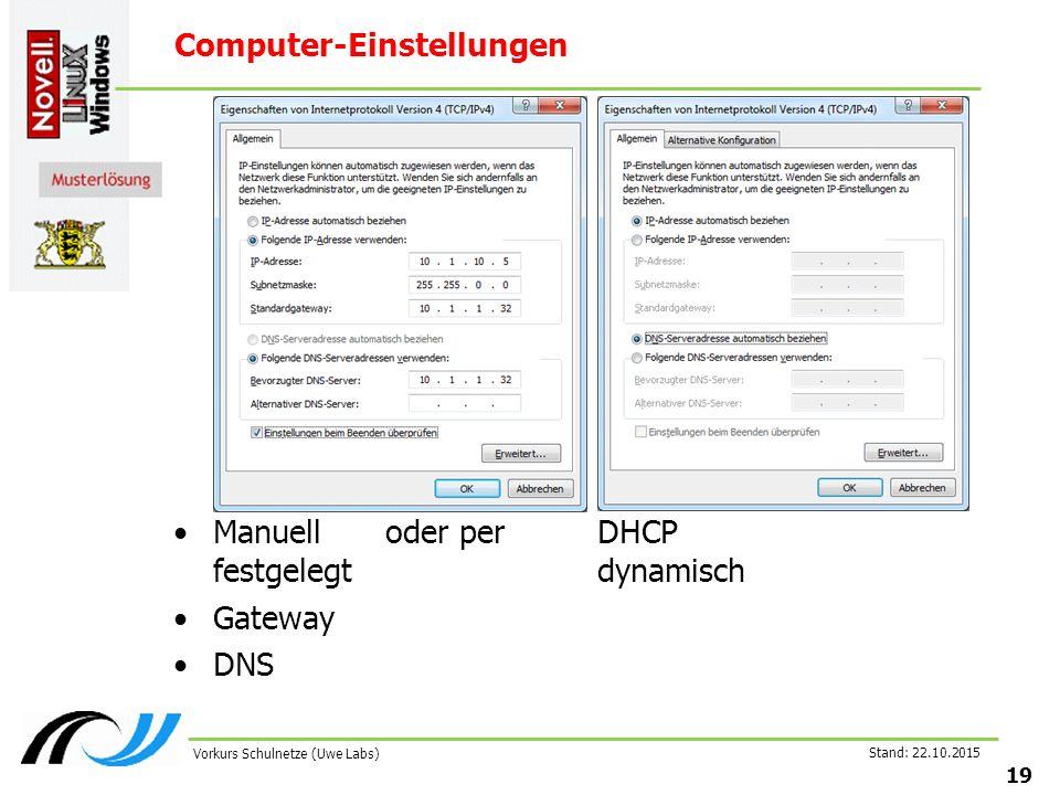 Stand: 22.10.2015 19 Vorkurs Schulnetze (Uwe Labs) Computer-Einstellungen Manuelloder perDHCP festgelegt dynamisch Gateway DNS