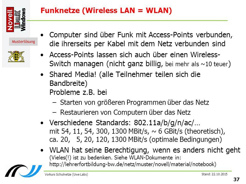 Stand: 22.10.2015 37 Vorkurs Schulnetze (Uwe Labs) Funknetze (Wireless LAN = WLAN) Computer sind über Funk mit Access-Points verbunden, die ihrerseits