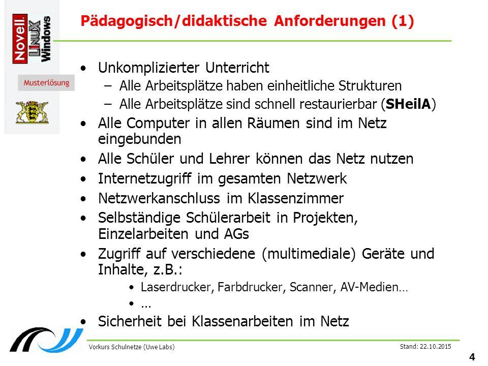Stand: 22.10.2015 4 Vorkurs Schulnetze (Uwe Labs) Pädagogisch/didaktische Anforderungen (1) Unkomplizierter Unterricht –Alle Arbeitsplätze haben einhe