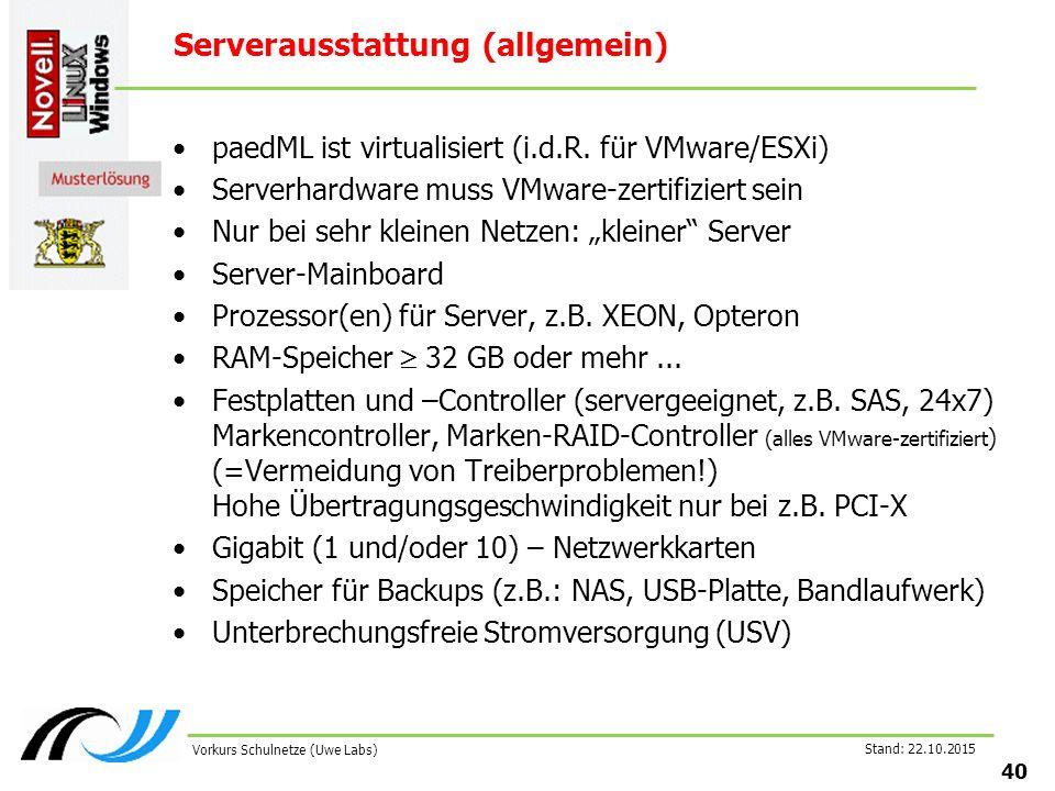 Stand: 22.10.2015 40 Vorkurs Schulnetze (Uwe Labs) Serverausstattung (allgemein) paedML ist virtualisiert (i.d.R. für VMware/ESXi) Serverhardware muss