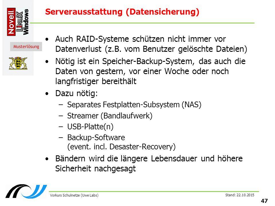 Stand: 22.10.2015 47 Vorkurs Schulnetze (Uwe Labs) Serverausstattung (Datensicherung) Auch RAID-Systeme schützen nicht immer vor Datenverlust (z.B. vo