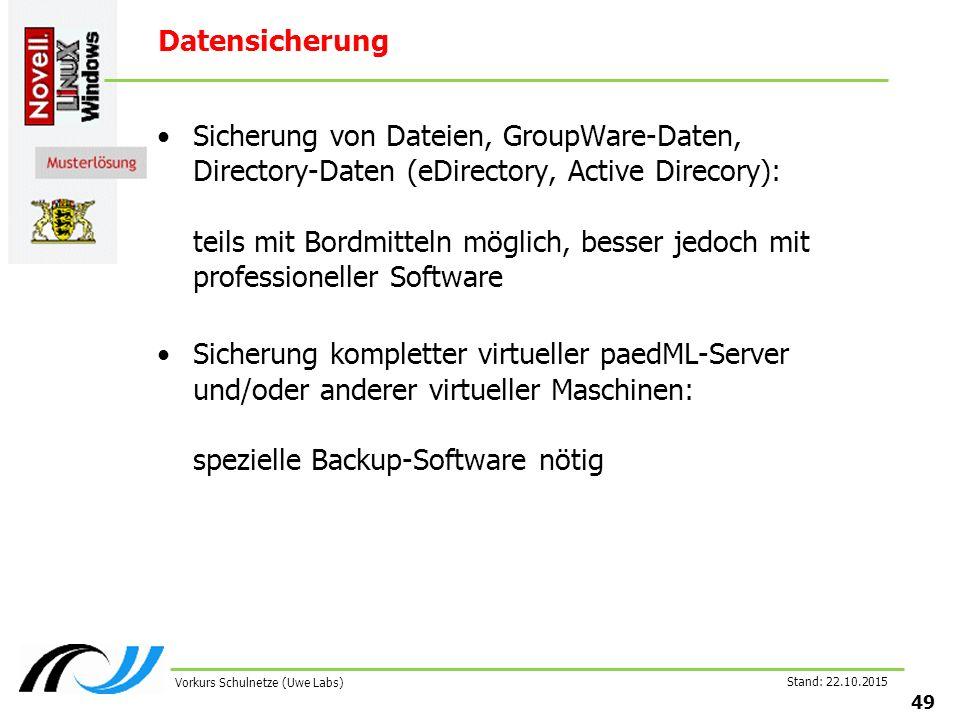 Datensicherung Sicherung von Dateien, GroupWare-Daten, Directory-Daten (eDirectory, Active Direcory): teils mit Bordmitteln möglich, besser jedoch mit