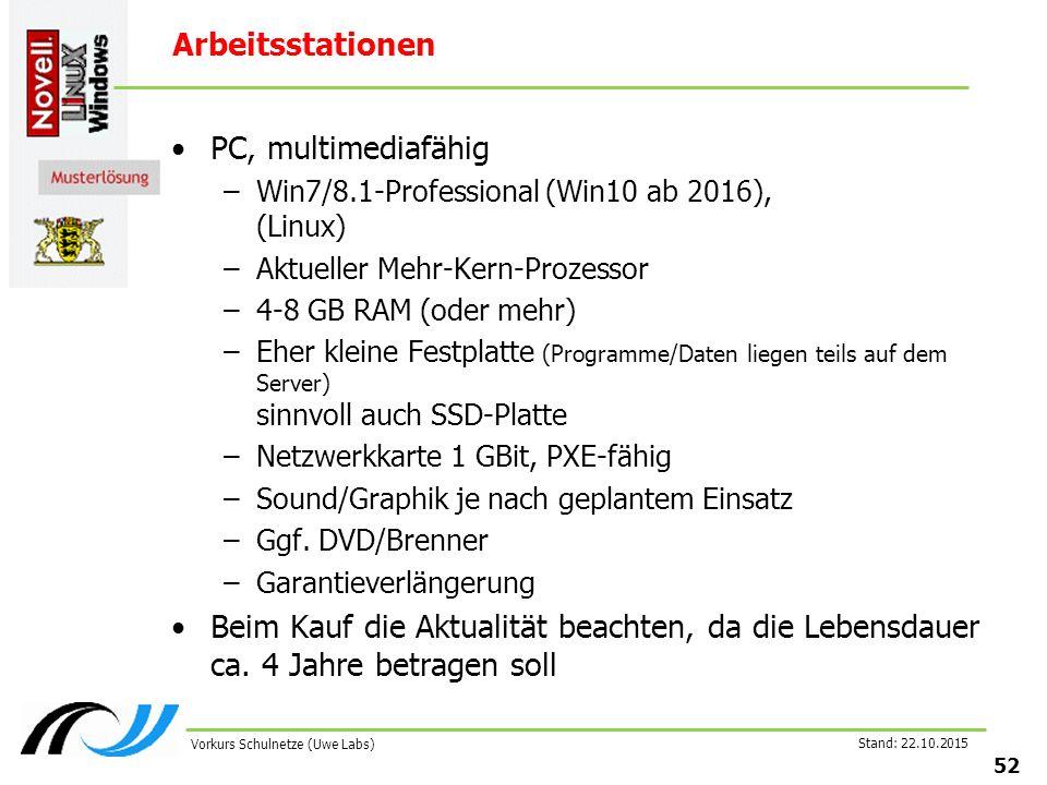 Stand: 22.10.2015 52 Vorkurs Schulnetze (Uwe Labs) Arbeitsstationen PC, multimediafähig –Win7/8.1-Professional (Win10 ab 2016), (Linux) –Aktueller Meh