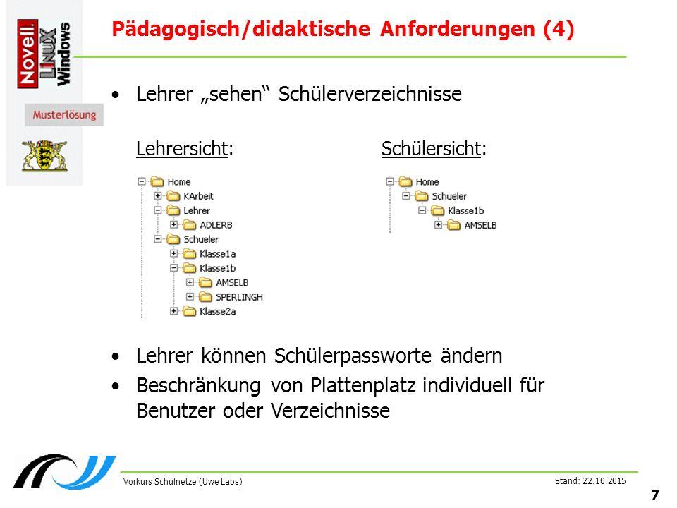 """Stand: 22.10.2015 7 Vorkurs Schulnetze (Uwe Labs) Pädagogisch/didaktische Anforderungen (4) Lehrer """"sehen"""" Schülerverzeichnisse Lehrersicht:Schülersic"""