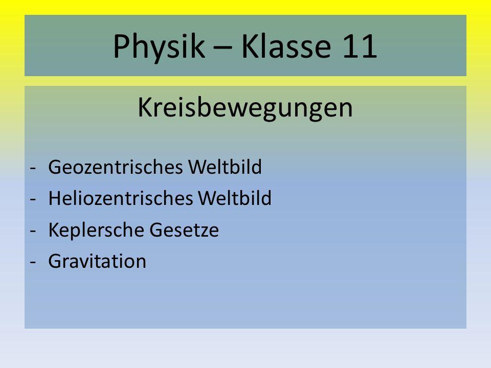 Physik – Klasse 11 Kreisbewegungen -Geozentrisches Weltbild -Heliozentrisches Weltbild -Keplersche Gesetze -Gravitation