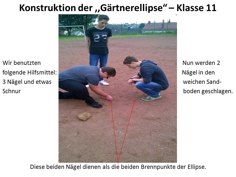 Konstruktion der,,Gärtnerellipse – Klasse 11 Wir benutzten Nun werden 2 folgende Hilfsmittel: Nägel in den 3 Nägel und etwas weichen Sand- Schnur boden geschlagen.