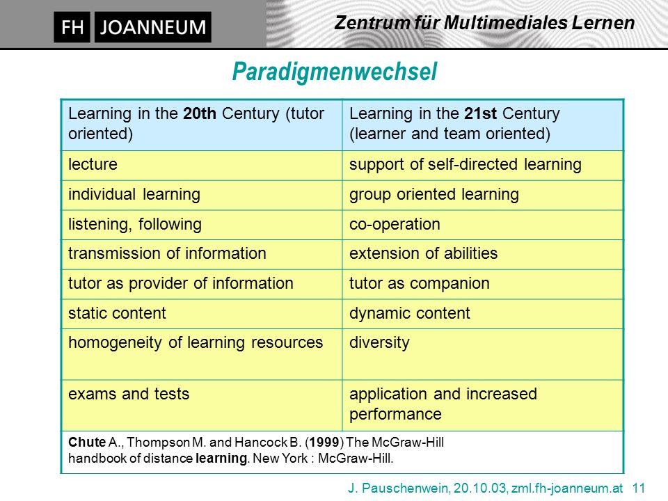 J. Pauschenwein, 20.10.03, zml.fh-joanneum.at 11 Zentrum für Multimediales Lernen Paradigmenwechsel Learning in the 20th Century (tutor oriented) Lear