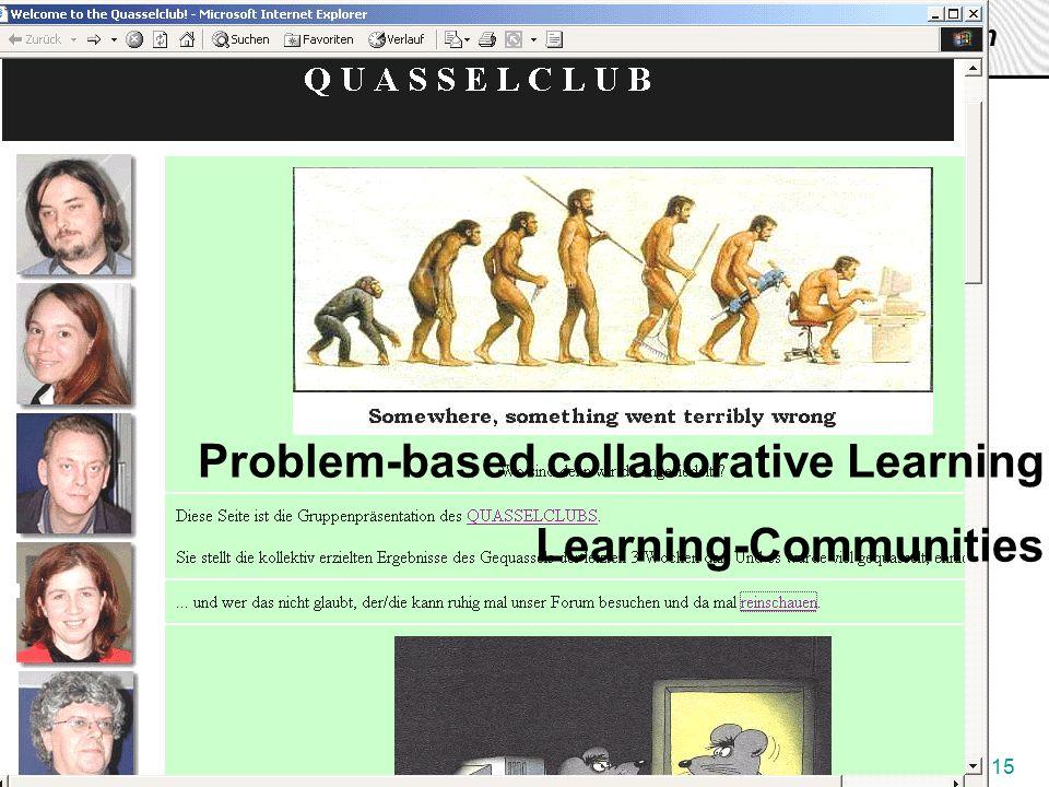 J. Pauschenwein, 20.10.03, zml.fh-joanneum.at 15 Zentrum für Multimediales Lernen Problem-based collaborative Learning Learning-Communities