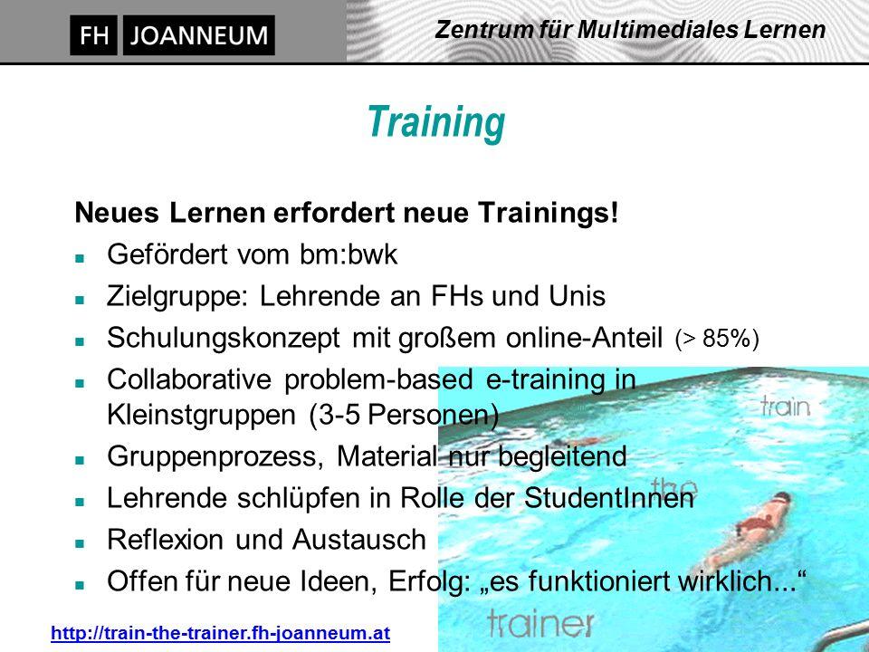 J. Pauschenwein, 20.10.03, zml.fh-joanneum.at 23 Zentrum für Multimediales Lernen Training Neues Lernen erfordert neue Trainings! n Gefördert vom bm:b