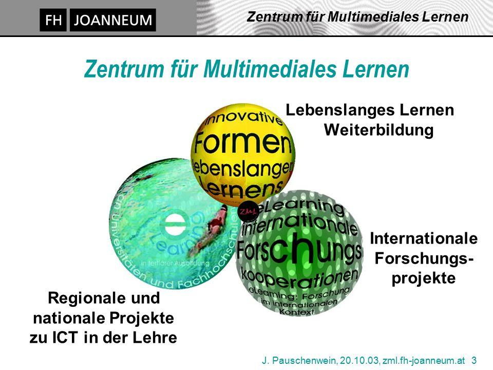 J. Pauschenwein, 20.10.03, zml.fh-joanneum.at 3 Zentrum für Multimediales Lernen Internationale Forschungs- projekte Lebenslanges Lernen Weiterbildung