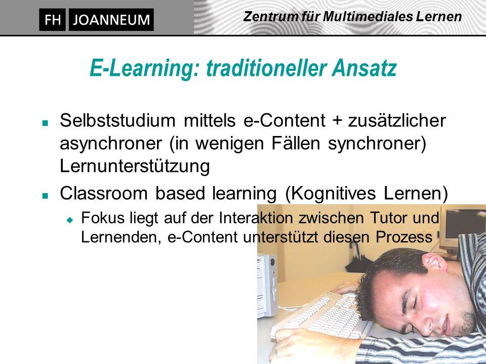 J. Pauschenwein, 20.10.03, zml.fh-joanneum.at 8 Zentrum für Multimediales Lernen E-Learning: traditioneller Ansatz n Selbststudium mittels e-Content +