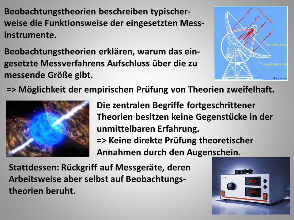 Beobachtungstheorien beschreiben typischer- weise die Funktionsweise der eingesetzten Mess- instrumente.