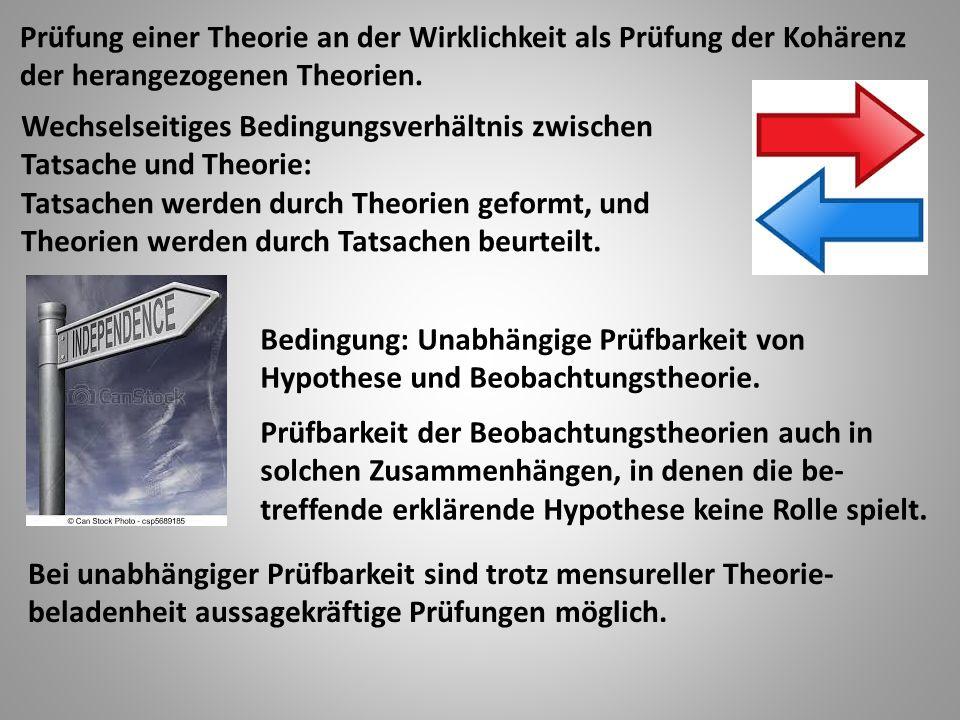 Prüfung einer Theorie an der Wirklichkeit als Prüfung der Kohärenz der herangezogenen Theorien.