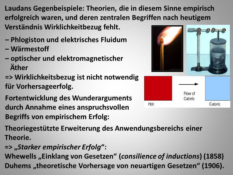 – Phlogiston und elektrisches Fluidum – Wärmestoff – optischer und elektromagnetischer Äther => Wirklichkeitsbezug ist nicht notwendig für Vorhersageerfolg.
