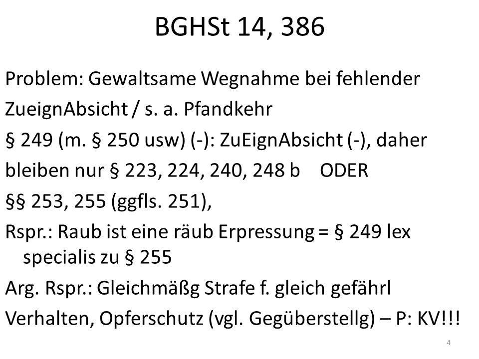 BGHSt 14, 386 Problem: Gewaltsame Wegnahme bei fehlender ZueignAbsicht / s. a. Pfandkehr § 249 (m. § 250 usw) (-): ZuEignAbsicht (-), daher bleiben nu