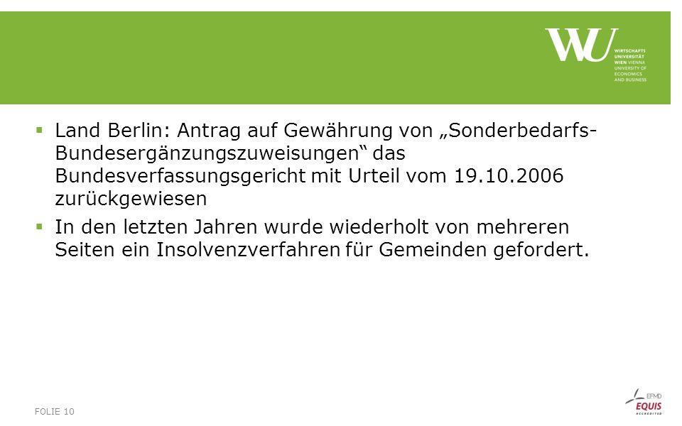 """ Land Berlin: Antrag auf Gewährung von """"Sonderbedarfs- Bundesergänzungszuweisungen"""" das Bundesverfassungsgericht mit Urteil vom 19.10.2006 zurückgewi"""