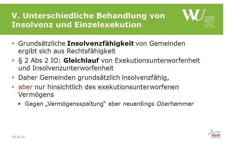 V. Unterschiedliche Behandlung von Insolvenz und Einzelexekution  Grundsätzliche Insolvenzfähigkeit von Gemeinden ergibt sich aus Rechtsfähigkeit  §