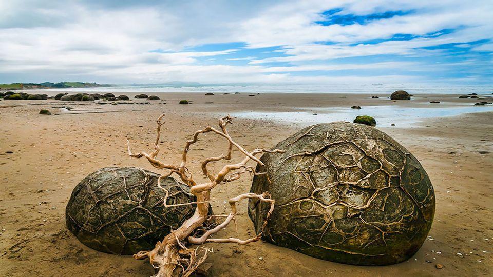Hunderte von großen Felsen sind am Strand Koekohe wie riesige Drachen verstreut. Eier bereit zu schlüpfen? Diese kugelförmigen Steine wurden dort 60.0
