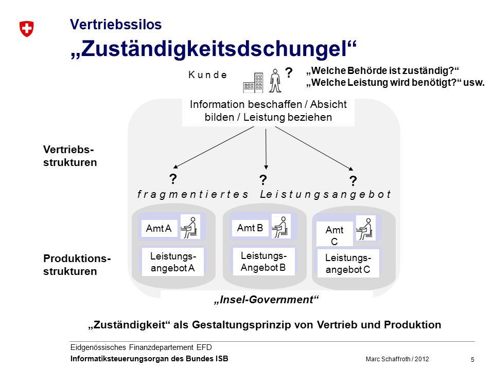 """5 Eidgenössisches Finanzdepartement EFD Informatiksteuerungsorgan des Bundes ISB Vertriebssilos """"Zuständigkeitsdschungel Leistungs- angebot A Amt A Amt B Leistungs- Angebot B Amt C Leistungs- angebot C ."""